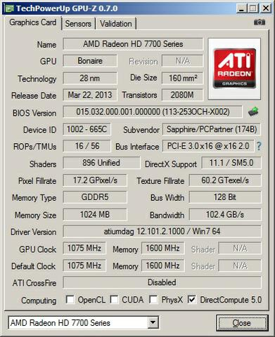 Sapphire Radeon HD7790 gpuz
