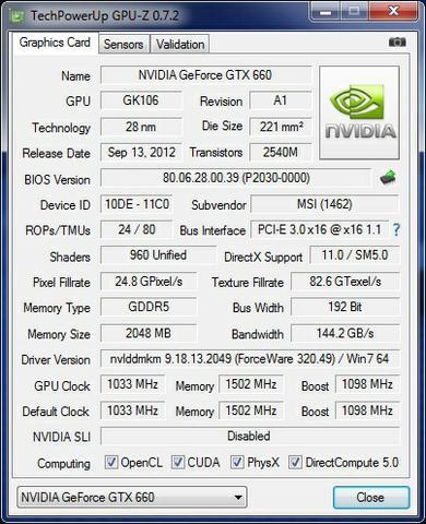 MSI GTX660 Twin Frozr information
