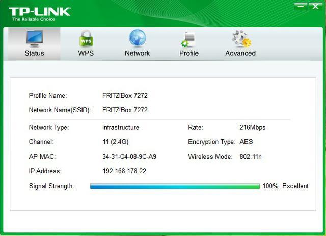 Fritz Box 7272 wifi status