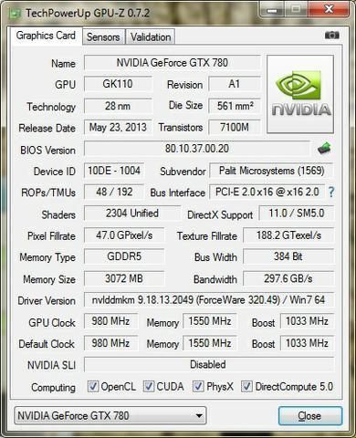 Palit GTX780 Super JetStream CPU-Z