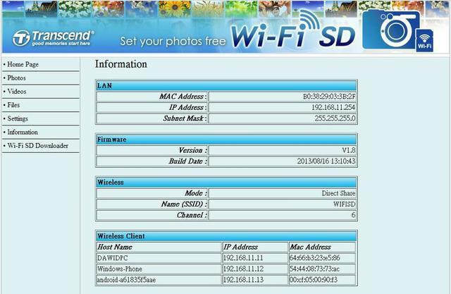 Transcend WiFi SD Card fot23